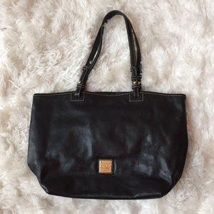 Vintage Dooney & Bourke Black Leather Tote Bag